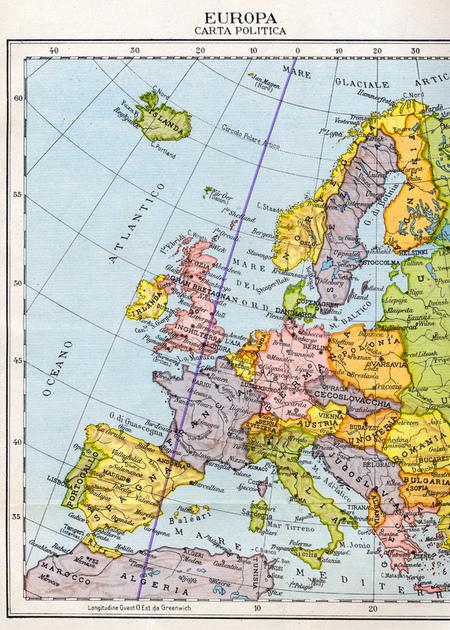 Cartina Europa Con Meridiani E Paralleli.Fototeca Gilardi Ricerca Latitudine